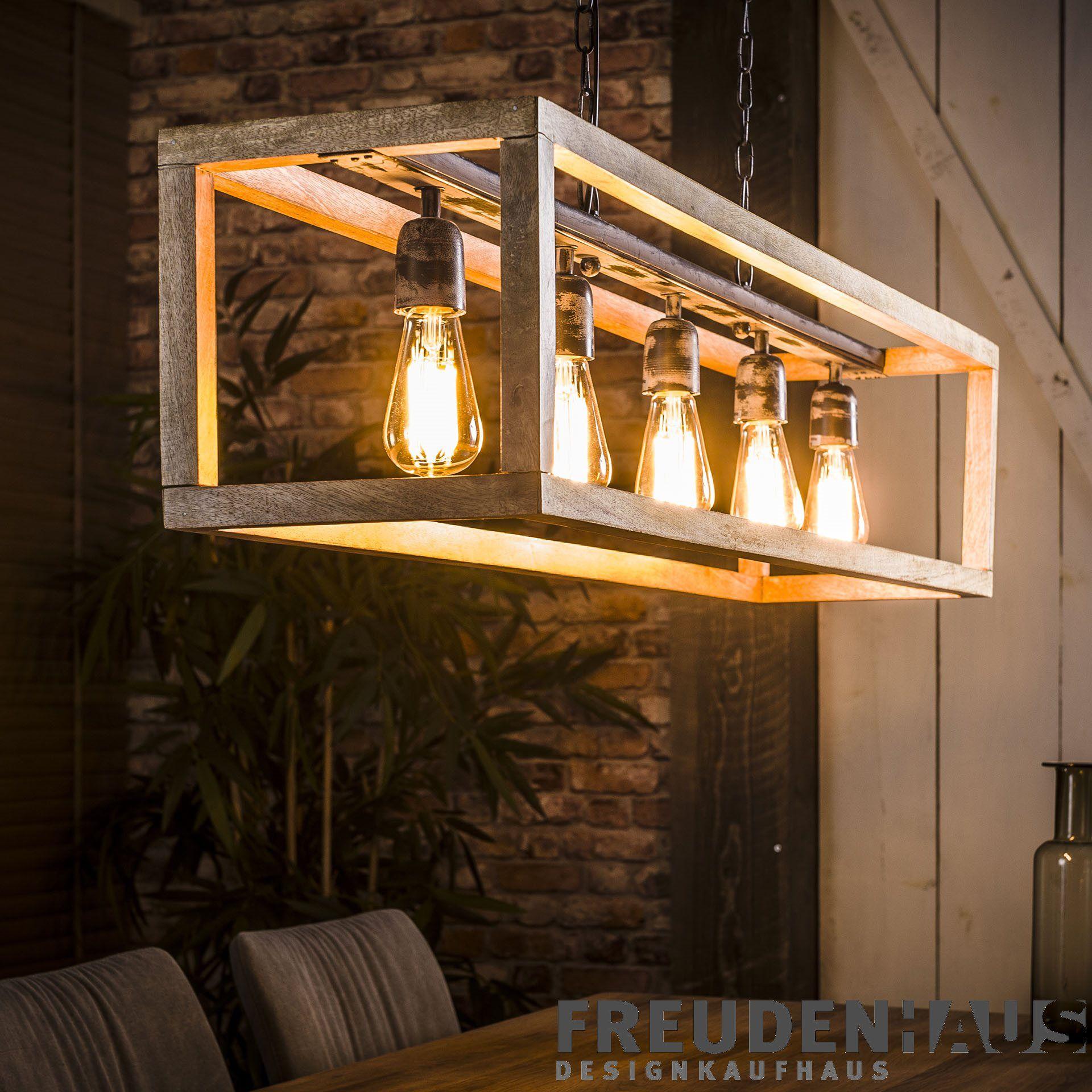 Hangelampe Holzrahmen 5er Rustikal Mit Kette Neuheiten Freudenhaus Designkaufhaus Deckenlampe Holz Lampe Lampendesign