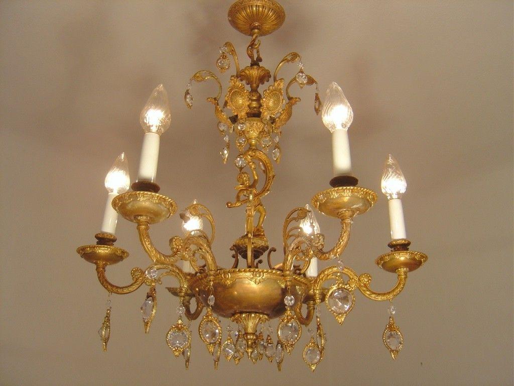 Rare small 6 light brass crystal cherubs chandelier vintage old rare small 6 light brass crystal cherubs chandelier vintage old french arubaitofo Gallery