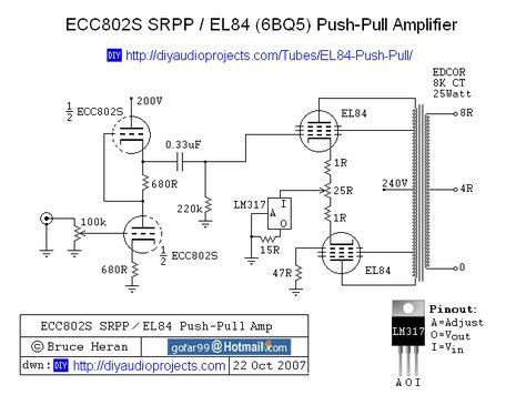 ECC802S SRPP / EL84 Push-Pull CCS Tube Amplifier Schematic | Radio
