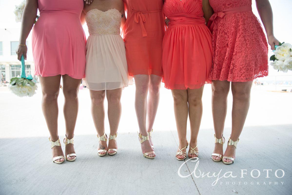 Salmon bridesmaid dresses, Cream