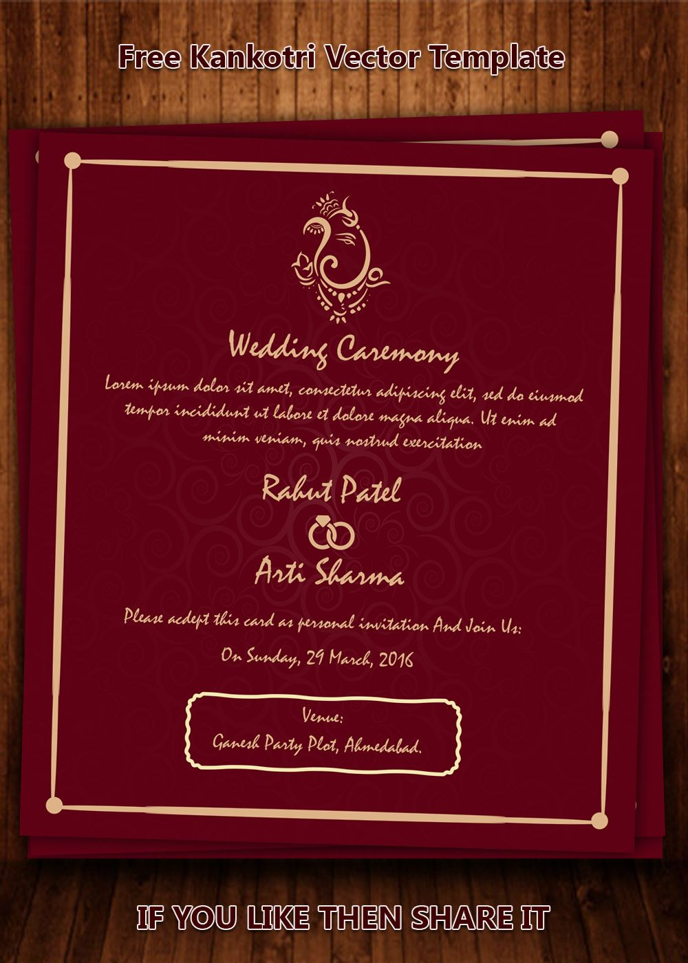 Modern wedding card templates | Kankotri Vector Template | Pinterest ...