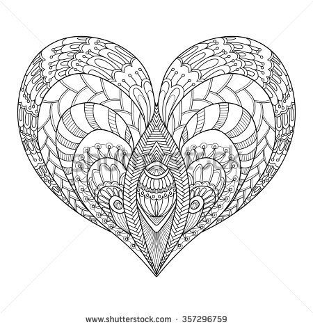 Decorative Love Heart. Vector illustration. Coloring book for adult ...