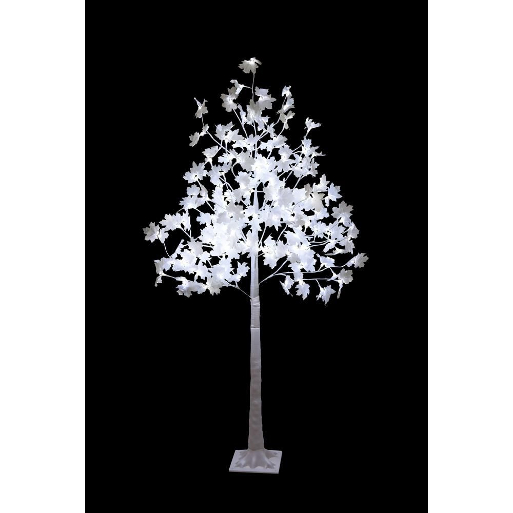 Lightshare 5 5 Ft Pre Lit Maple Tree With White Leaves And 120 Warm White And Clear White Lights Ssfys6ft The Home Depot In 2020 Led Color Changing Lights Fiber Optic Christmas Tree White Light