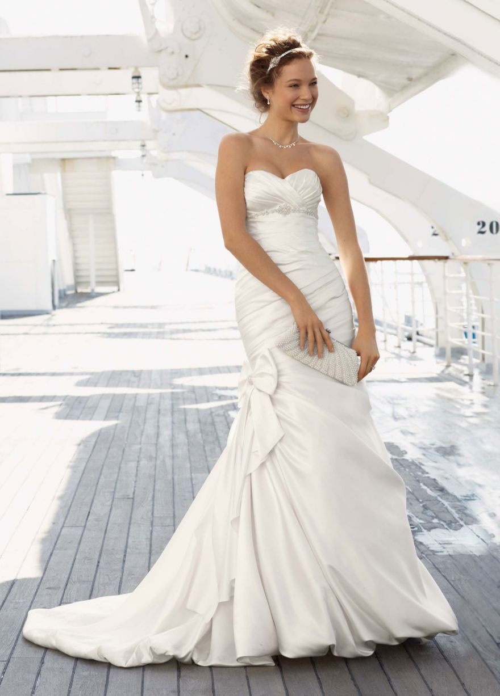 Satin Mermaid Gown with Bow Detail - David\'s Bridal   Wedding ideas ...