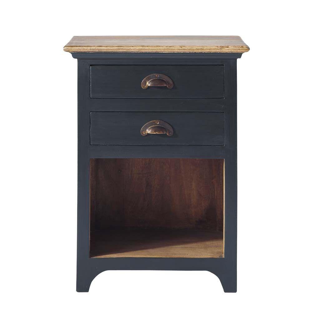 Table De Chevet 2 Tiroirs En Manguier Gris Wooden Bedside Table