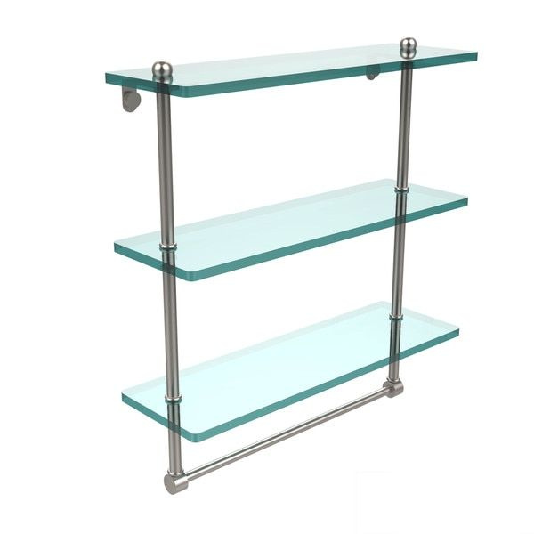 16-inch 3-tiered Glass Shelf with Integrated Towel Bar For the