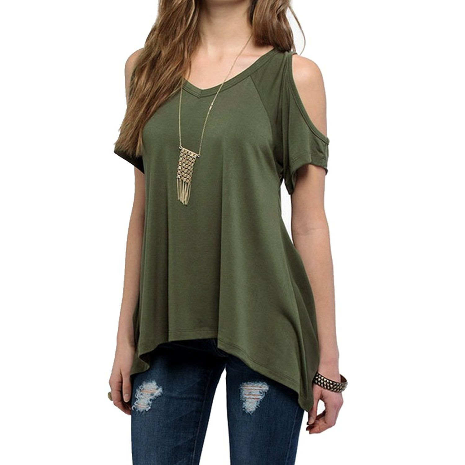 ebdf9ff94e7d41 Fashion Story Women Casual T-shirt Short Sleeve Top Crew Neck Loose Blouse  Bat Sleeve Tunics For Summer at Amazon Women's Clothing store: