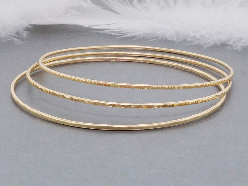 New To Tdncreations On Etsy Solid 14k Gold Bangle Bracelets Stacking Bangles Dainty Set Of 3 660 00 Usd