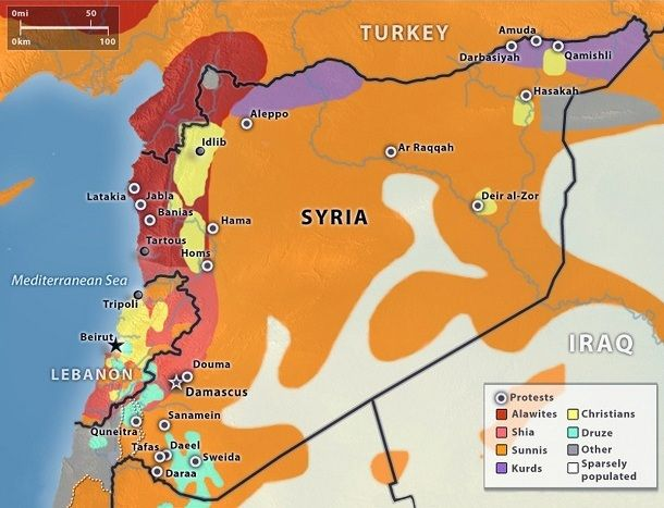 Map of religious affiliation in Syria circa Arab Spring – Map of the Arab Spring