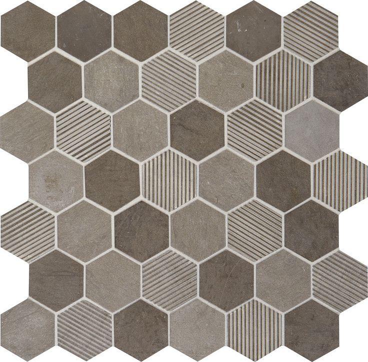 Daltile Limestone Collection Moe Gris Blend L346 2 Hexagon Mosaic Natural Stone Tile