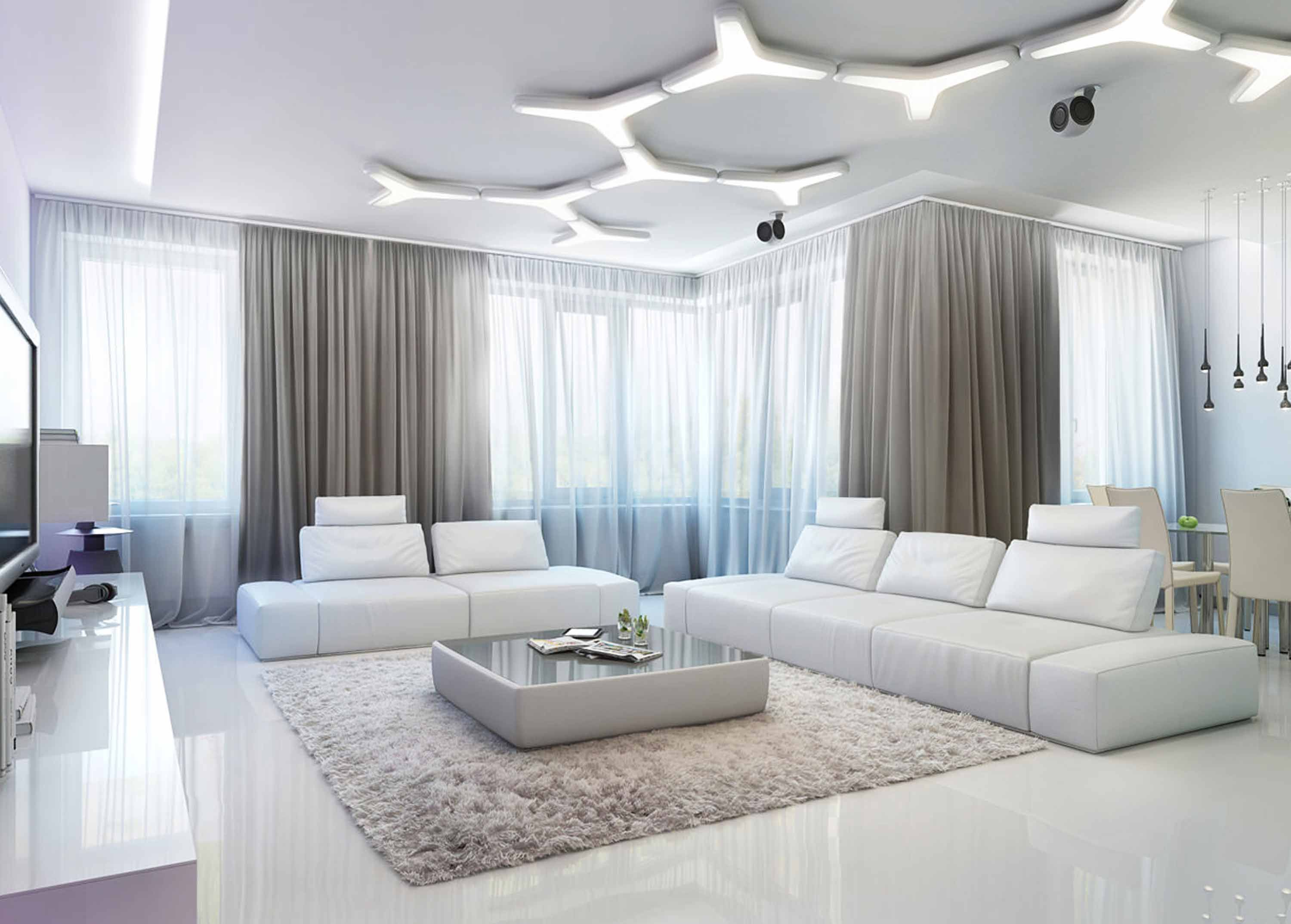 Magnificent Living Room Design Included A White Vinyl Armless ...