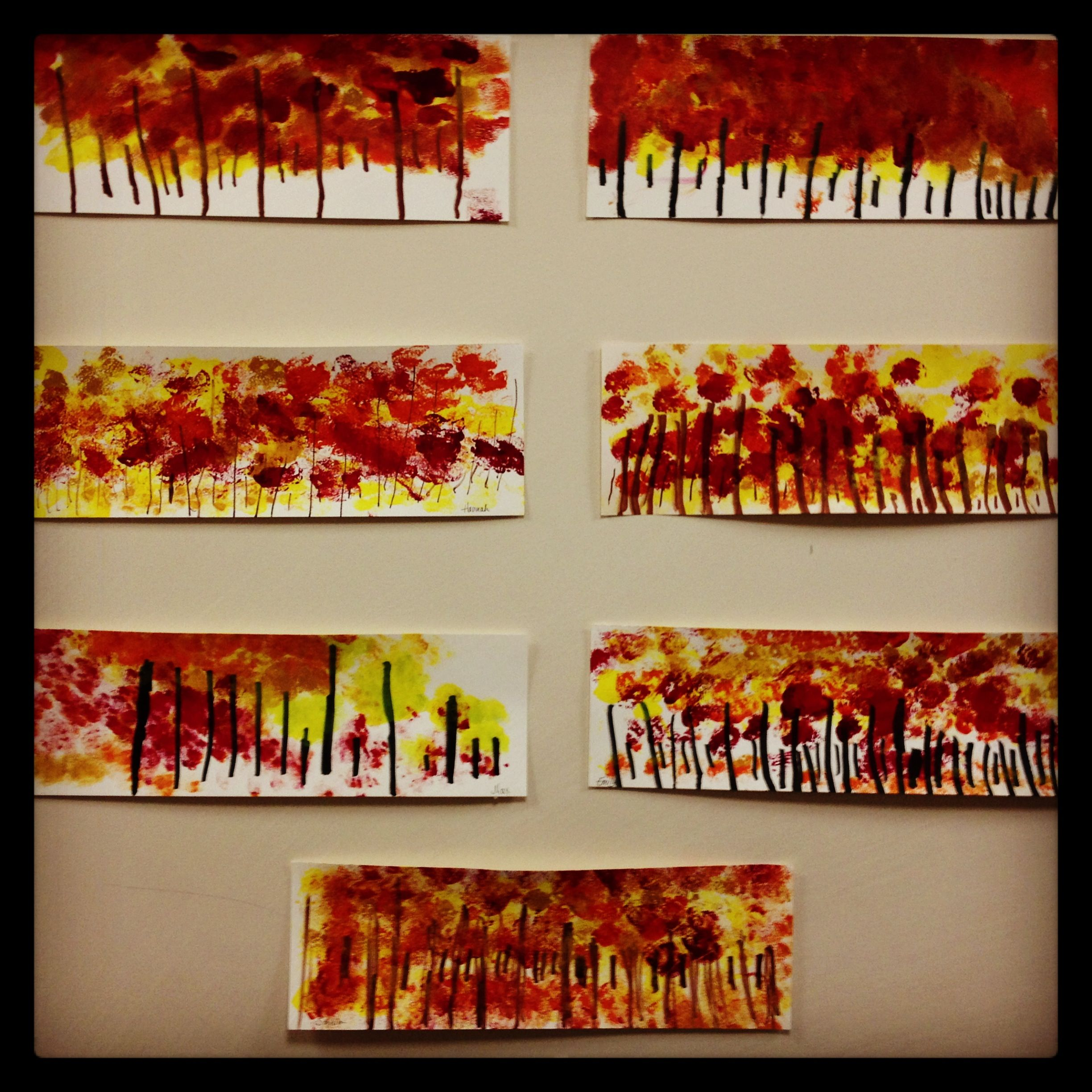 Kindergarten Art Project Fall Tree Line Bloomshoppe