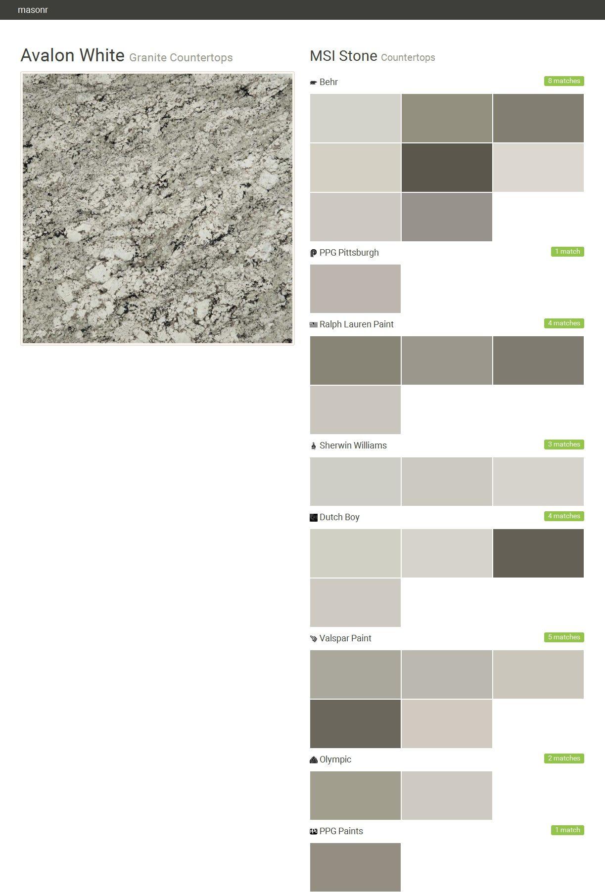 Avalon White. Granite Countertops. Countertops. MSI Stone. Behr. PPG  Pittsburgh.
