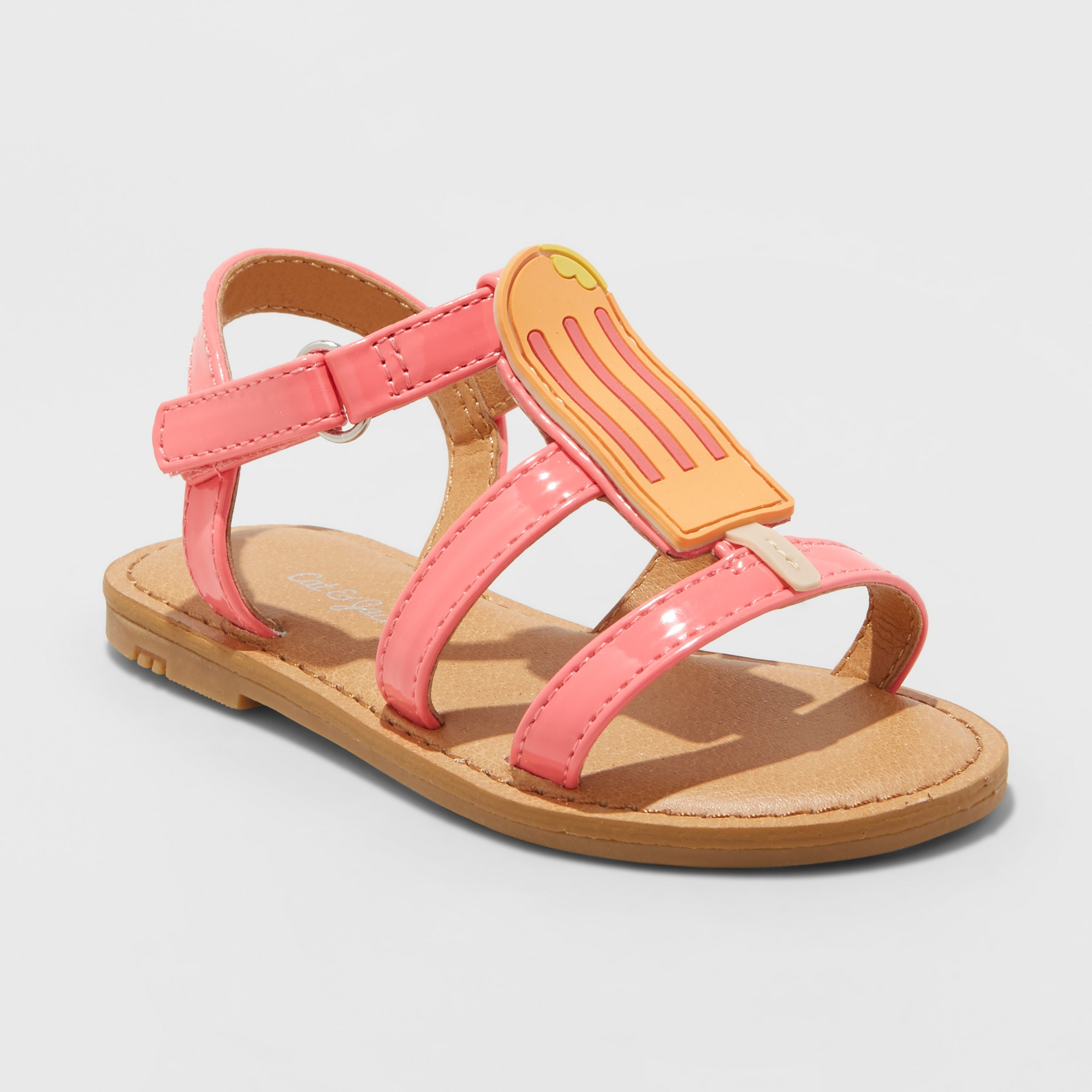 New Cat /& Jack Pink Kelsa Two Piece Slide Sandal Loop /& Hook Toddler Girls Sz 11