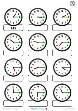 SEN Teacher ⋆ Clocks - Card Pairs ⋆ Printable Worksheet ...