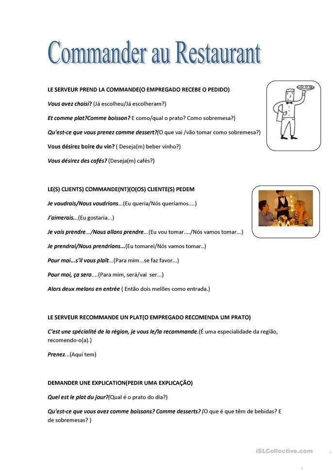 Commander au restaurant Worksheets