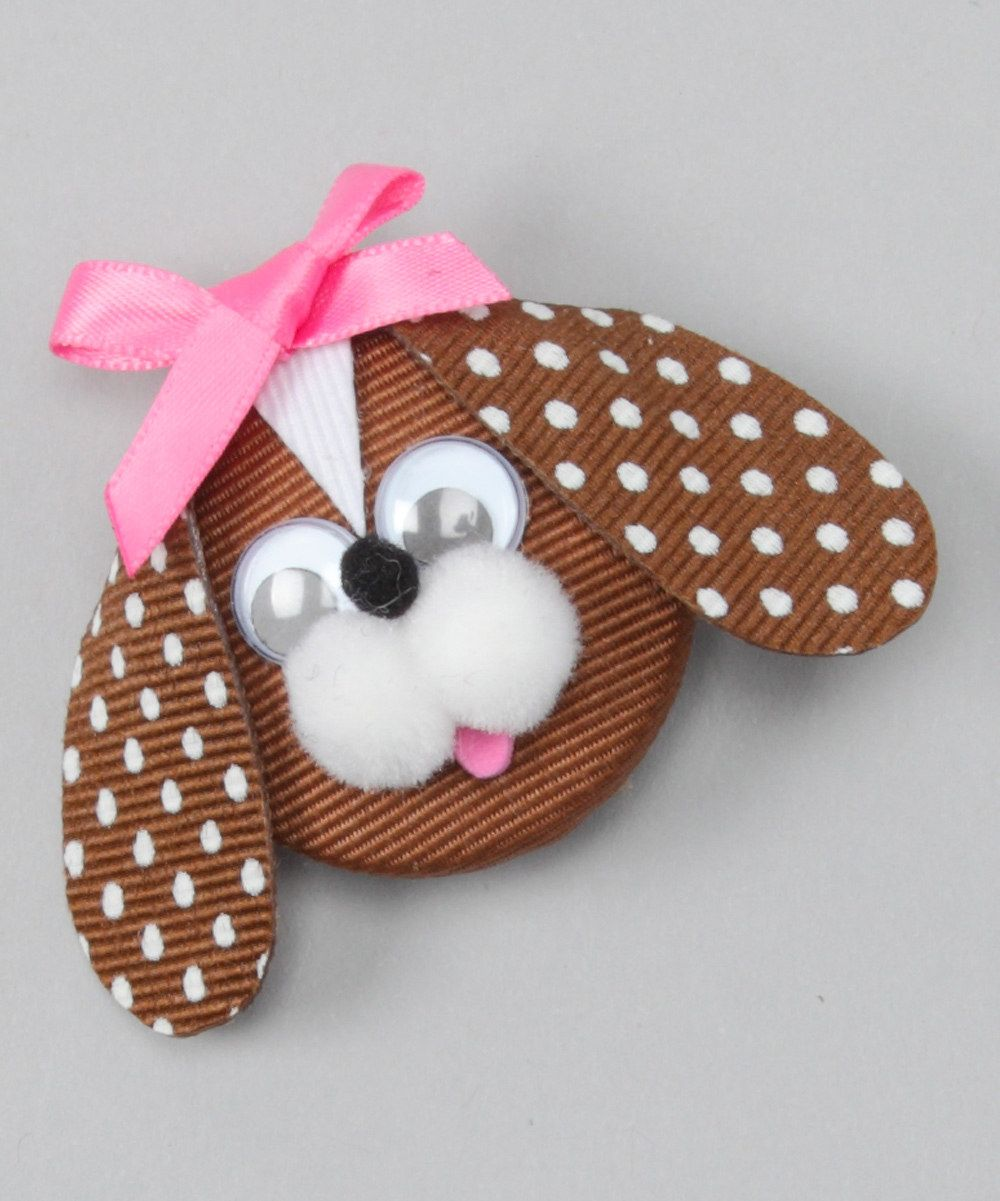 Look at this Picture Perfect Hair Bows Brown & Pink Puppy Clip on #zulily today!