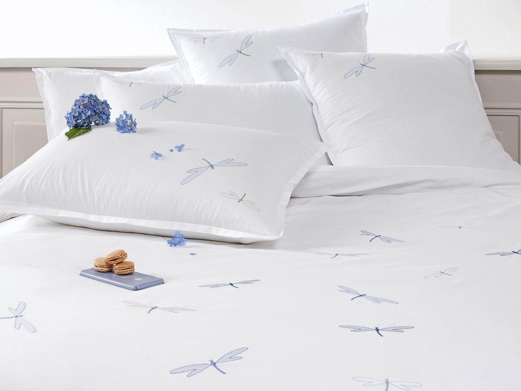 linge de lit housse de couette blanc en percale de coton brod e de qualit sup rieure 80. Black Bedroom Furniture Sets. Home Design Ideas