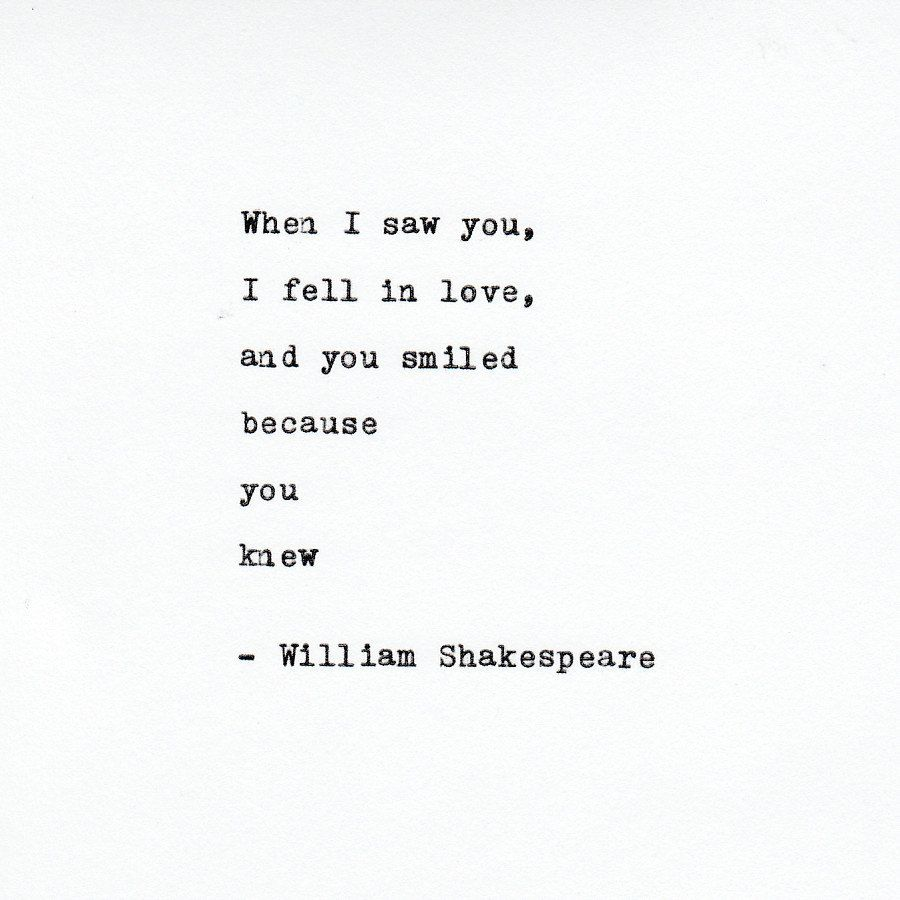 William Shakespeare Love Quote Made On Typewriter,Typewriter Quote, Famous Quotes  By VintageTypedQuotes On
