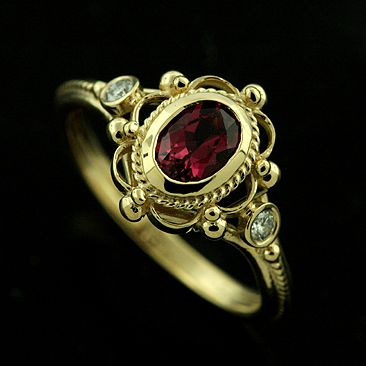 Victorian Style Diamond Oval Pink Tourmaline Engagement Ring 18K