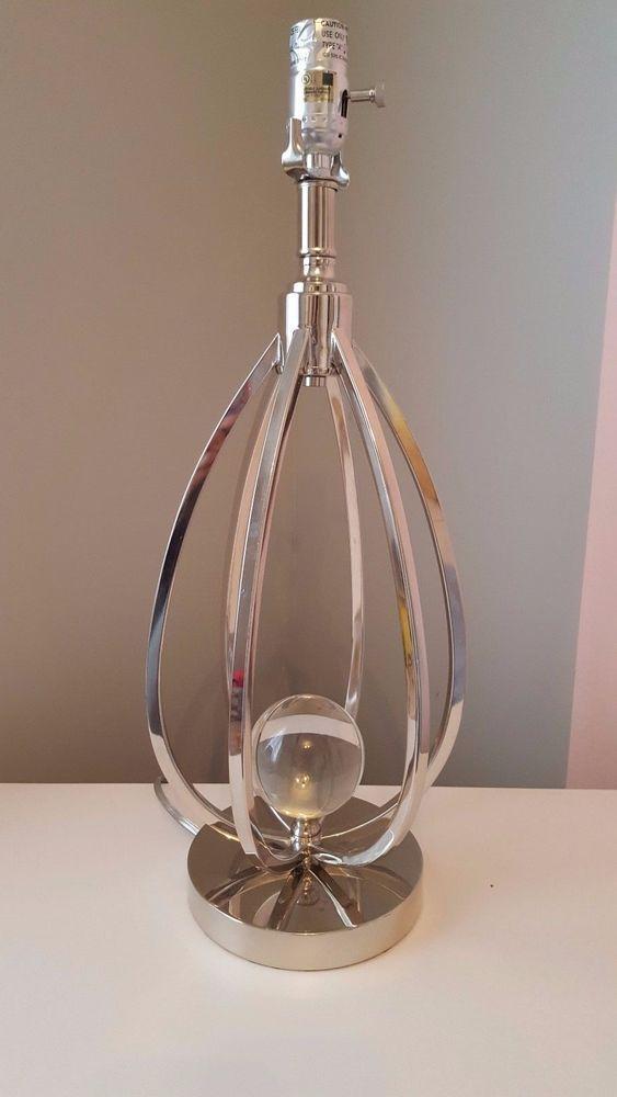 Tahari Home Silver Caged Acrylic Ball Table Lamp Modern Contemporary Tahari Modern Table Lamp Lamp Silver Table Lamps