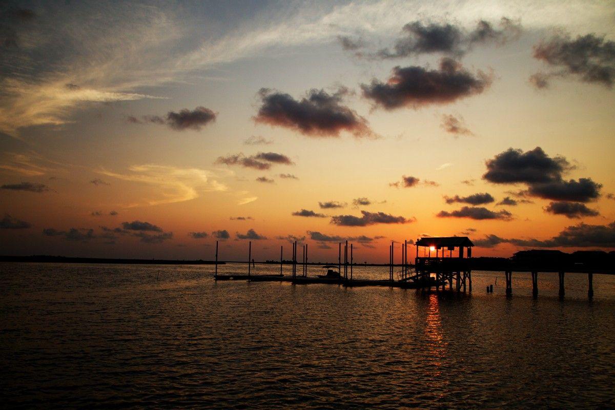 صورة عالية الدقة خالية من غروب الشمس فلوريدا الغيوم المياه البحر الصيد السماء الأفق Afterg Photo Sunset Outdoor