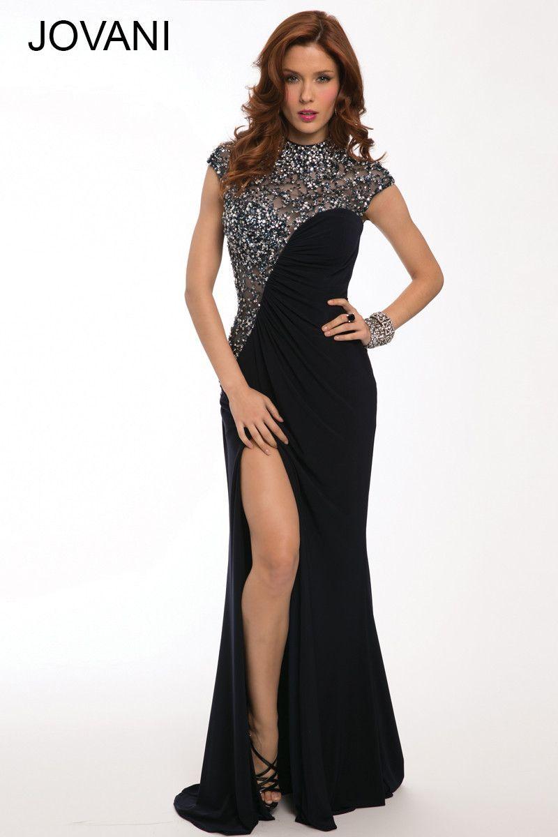 Jovani 92081 Navy Jeweled Cap Sleeve Open Back Jersey Prom Dress