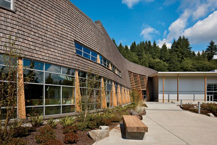 The 79,778 square-foot Machias Elementary School in Snohomish, Washington has won four architectural awards since being completed in December of 2010. Among the recent awards that the designers at NAC Architecture took home was a 2012 Merit Award from the AIA Washington Civic Design Awards. The Machias Elementary School celebrates the heritage of the rural Snohomish region through its close connection to the land, materials, and self-sufficiency, which make it unique within Washington State.