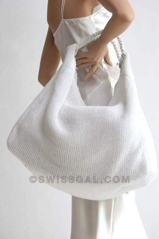 Chic knitted huge hobo bag in WHITE BLUE and BLACK by marinazyx