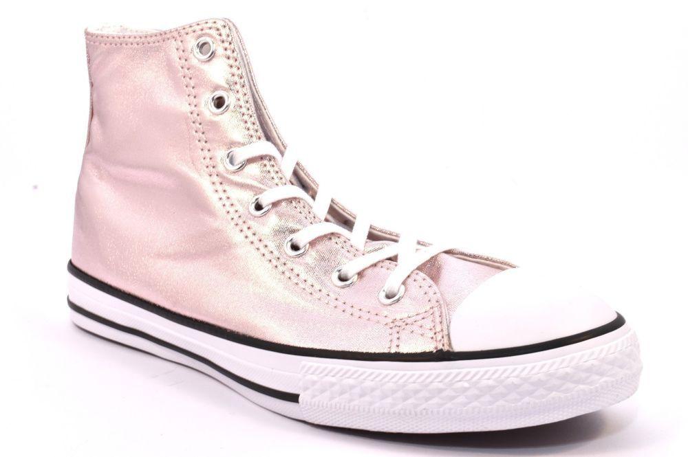 c21f3c40905b51 CONVERSE ALL STAR 656834C LAMINATO ROSA Metallico Donna Sneakers Bianca JR