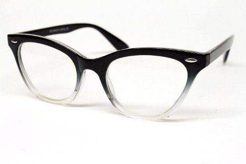 786cdd331d Cat Eye Vintage Retro Clear Lens Sunglasses Eyeglasses Womens E27  (black clear