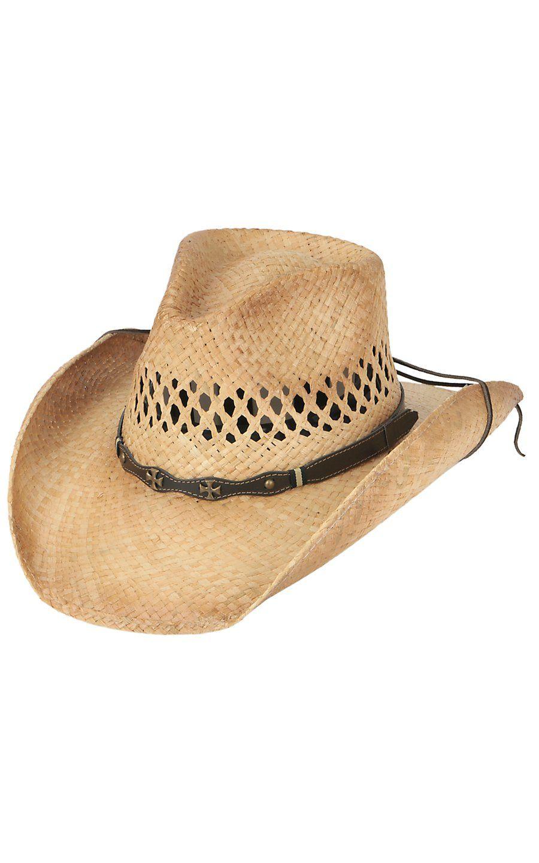 af534ab7590 Cavenders Raffia Vent Double Cross Straw Cowboy Hat