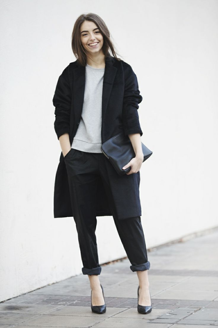 Women's Black Coat, Grey Sweatshirt, Black Chinos, Black Leather ...