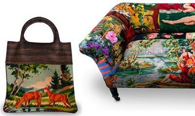 Frederique Morrel bag and sofa from recycled cross stitch