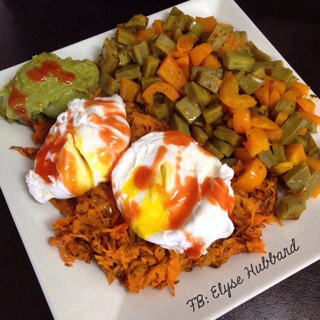 ✨Breakfast!✨ I wish y'all could taste the nopales on my plate.  Cooked them in ghee with pink salt, pepper, and fresh lime juice, and mixed in orange peppers.  So good. Sweet potato hash under my poached eggs with guacamole and redhot  #NomNom https://www.facebook.com/TeamJERF