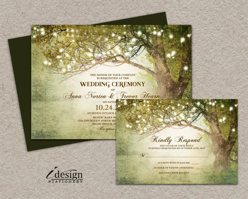 Woodland String Lights Wedding Invitation With Rsvp | Enchanted ...