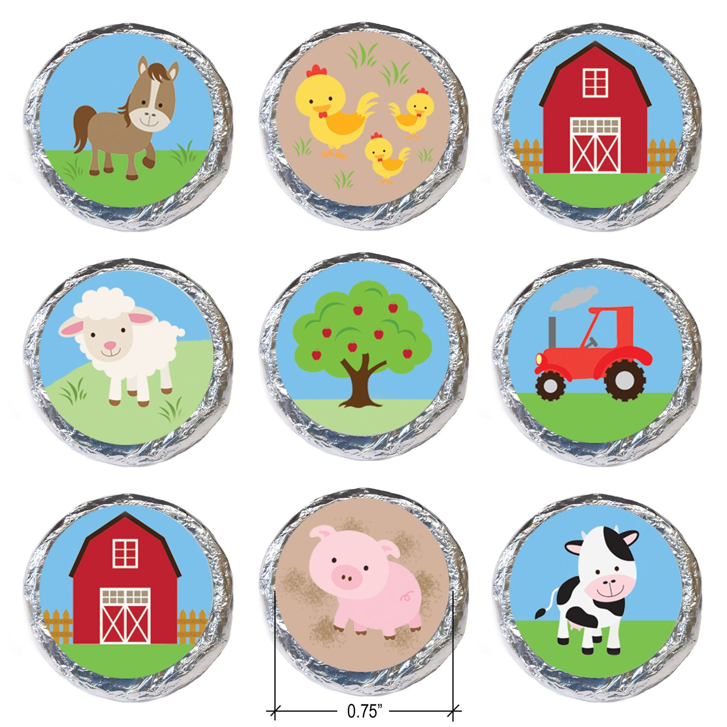 Barnyard Party Farm Animals Stickers