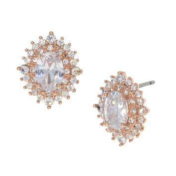 Dear Deer Rose Gold Plated Oval CZ Stud Earrings