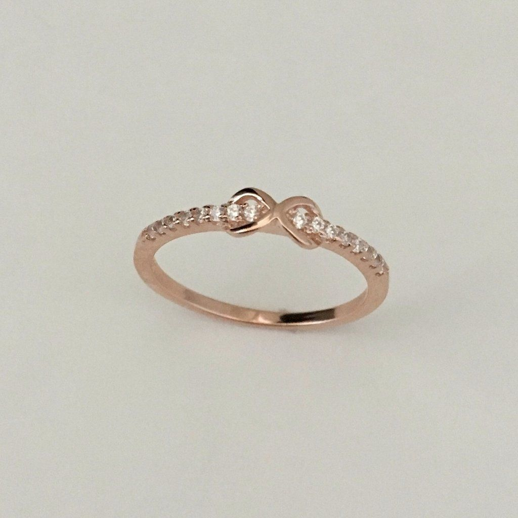 Rose Gold Plated Sterling Silver Infinity CZ Ring
