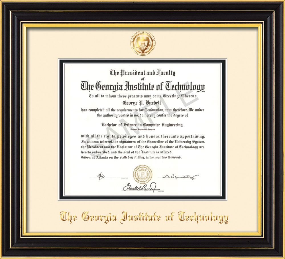 Georgia Tech Diploma Frame - Satin Black - Seal - Cream on Black ...