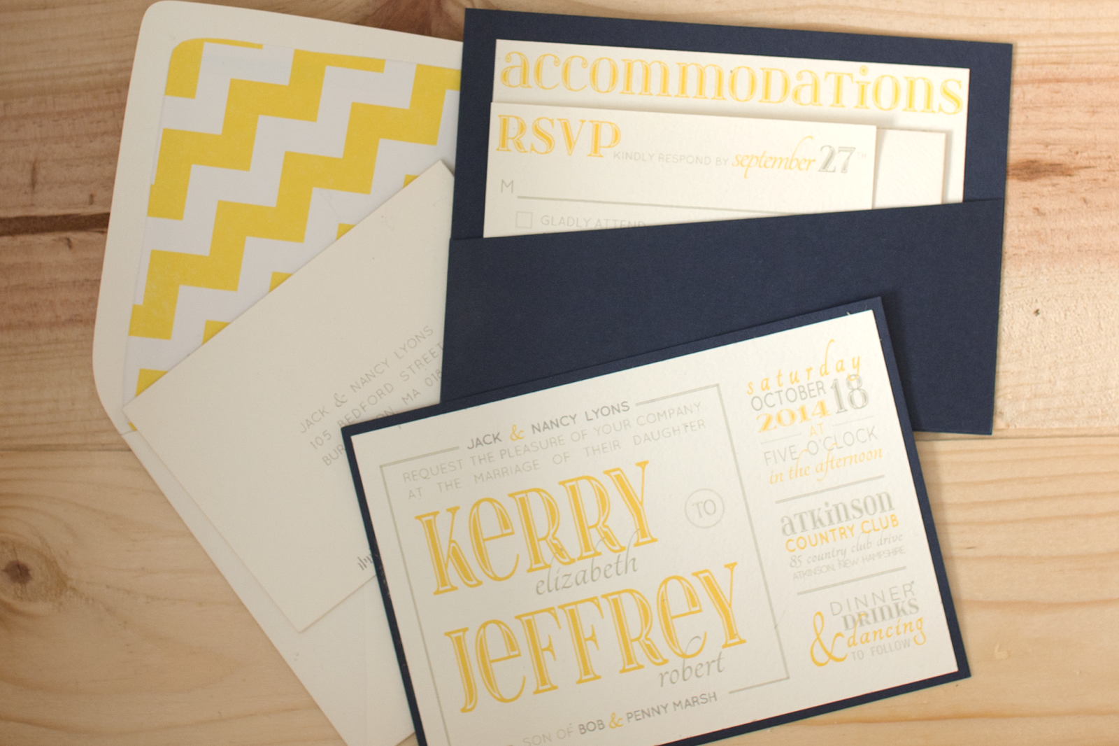 Kerry and Jeff\'s Wedding Invitations // yellow, grey and navy ...