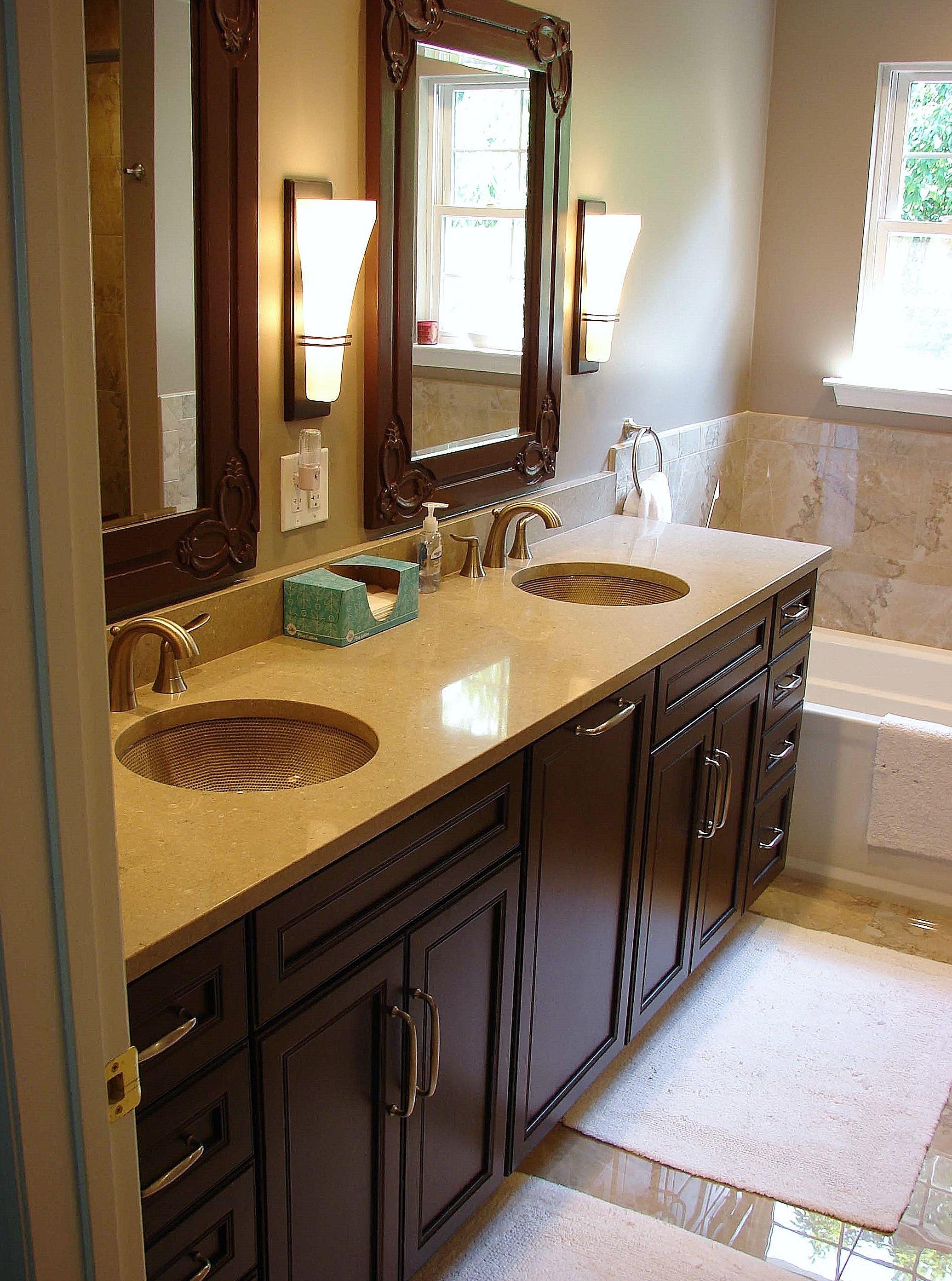 Rich Warm Wood Master Bathroom Vanity With A Caesarstone Shitake Prepossessing Bathroom Vanities Nj 2018