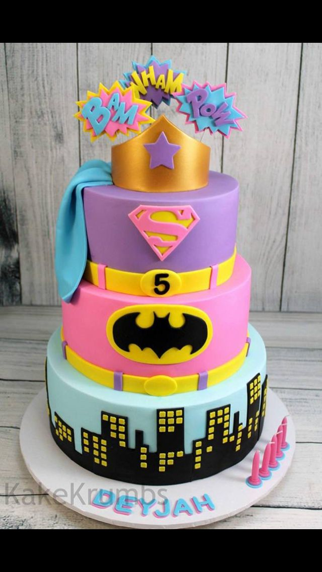If He Was A Girl Supergirl Cakes Batgirl Cake Party Wonderwoman Cupcakes