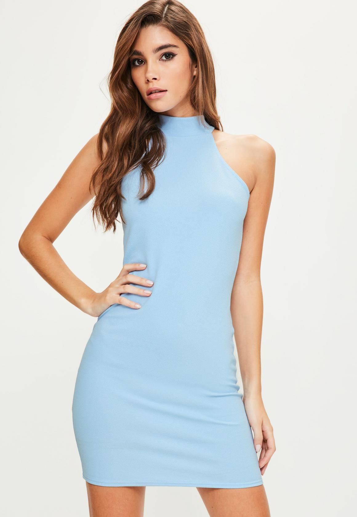 81c73021e4af Missguided - Blue High Neck Bodycon Dress | Dream Closet in 2019 ...