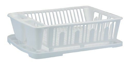 United Solutions Plastic Dish Rack And Drain Board Set White By