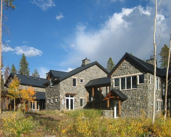 Black Metal Roof Home Design Ideas Pictures Remodel And Decor Stone Exterior Houses Cottage Exterior Grey Stone House