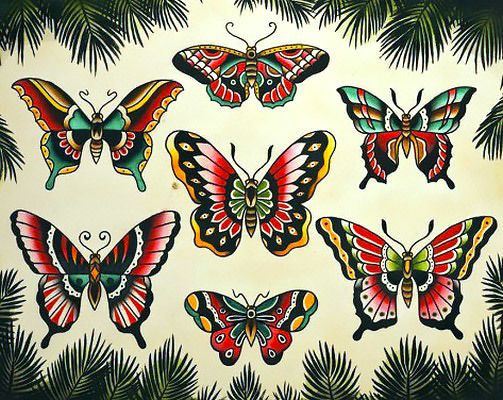 91a085abc A couple designs of vintage styled red, green, black, and yellow  butterflies.