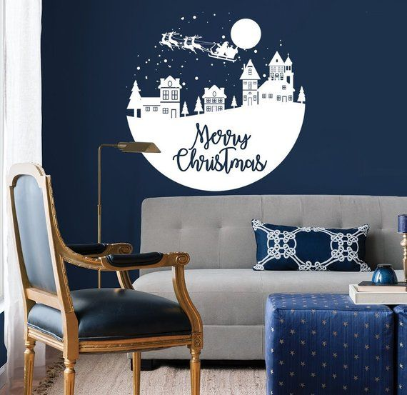 christmas winter wall decal - home wall decal - living room wall
