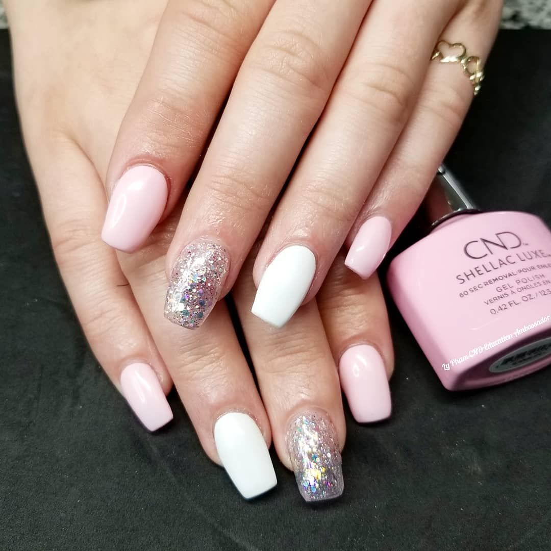 Cnd Acrylic Nails With Shellac Luxe In Be Demure And Cream Puff Cnd Cndretentionplus Cndshellacluxe Bedemure Creampuff Cnd Nails Acrylic Nails Nails