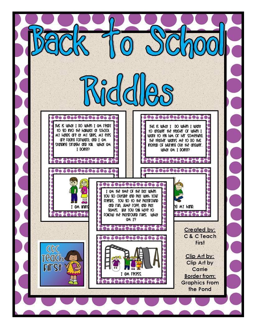 Back To School Riddles School Riddles School Beginning Of School